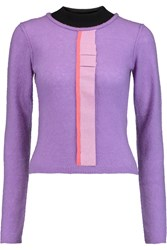 Roksanda Ilincic Fletcher Ruffled Cashmere Silk And Wool Blend Sweater Purple