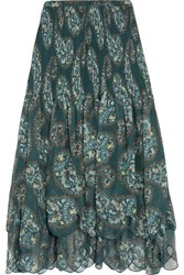 See By Chloe Tiered Printed Crepon Maxi Skirt Forest Green