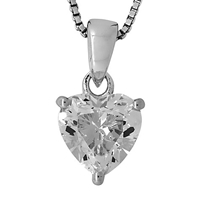 Jools By Jenny Brown Small Heart Cubic Zirconia Pendant Necklace Silver