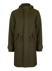 Topman Green Khaki Longline Fishtail Military Parka