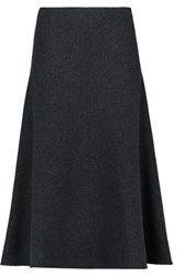 Iris And Ink Evita Wool Cashmere Blend Felt Midi Skirt Charcoal