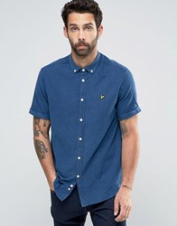 Lyle And Scott Oxford Shirt In Light Indigo Blue In Regular Fit With Short Sleeves 2 Light Indigo