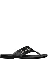 John Richmond Tattoo Embossed Leather Flip Flops Black