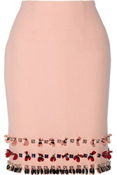 Mother Of Pearl Leah Embellished Wool Crepe Skirt Pink
