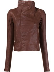 Rick Owens Funnel Neck Biker Jacket Brown