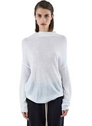Rick Owens Crater Knit Sweater White
