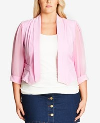 City Chic Plus Size Sheer Sleeve Cropped Blazer Musk