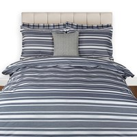 Gant Log Stripe Duvet Cover Midnight Blue Double