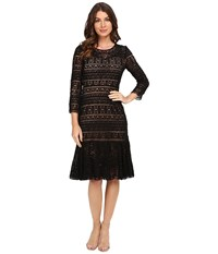 Rebecca Taylor Stained Glass Lace Long Sleeve Dress Black Women's Dress