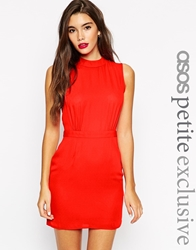 Asos Petite Sleeveless Mini Dress With High Neck Red