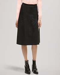 Whistles Skirt Courtney Leather Fit And Flare Black