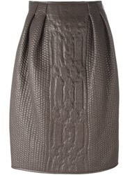 Agnona Cable Knit Effect Skirt Grey