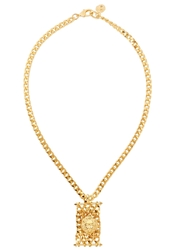 Versus Gold Tone Lion And Chain Necklace