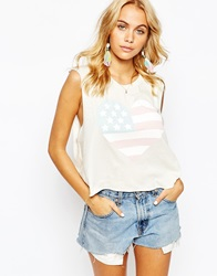 Wildfox Couture Wildfox Cropped Vest With 4Th July American Flag Heart Print White