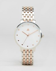Asos Boyfriend Silver And Rose Gold Clean Metal Watch Silver