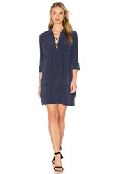 Equipment Knox Long Sleeve Button Up Dress Navy