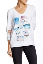 Wildfox Couture Palm Springs Polaroid V Neck Baggy Beach Jumper White