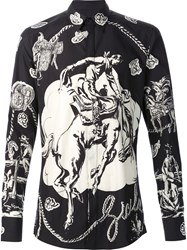Dolce And Gabbana Cowboy Print Shirt Black
