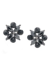 Carolee Jet Black Crystal Flower Earrings