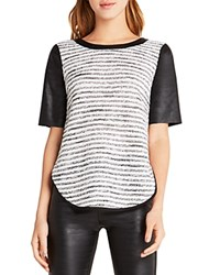 Bcbgeneration Faux Leather Short Sleeve Top Black Combo