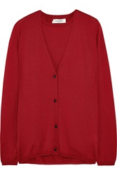 Valentino Wool Blend Vest And Cardigan Set Red