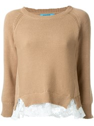 Guild Prime Crew Neck Lace Insert Jumper Brown