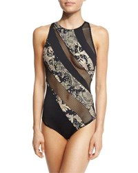 Carmen Marc Valvo Ornamental Floral Mesh High Neck One Piece Swimsuit Multi