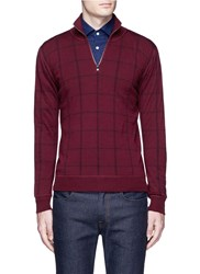 Isaia Windowpane Check Mock Neck Sweater Red