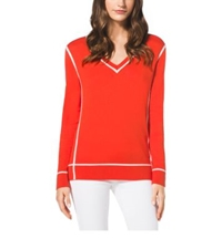 Michael Kors V Neck Cotton Sweater Mandarin