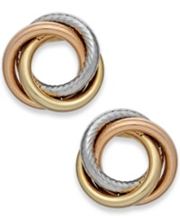 Macy's Tri Tone Textured Love Knot Stud Earrings In 14K Gold Yellow Gold