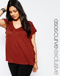 Asos Curve Tunic Top With Ruffle Trim Red