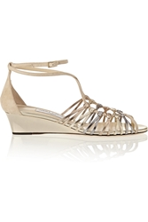 Jimmy Choo Laze Metallic Leather And Suede Wedge Sandals