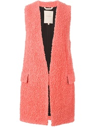 Roksanda Ilincic Roksanda Loop Knit Long Gilet Pink And Purple