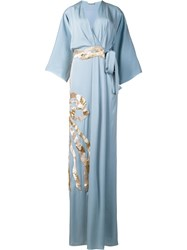 Vionnet Metallic Detailing V Neck Dress Blue