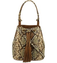 Sandro Angy Snake Embossed Leather Bucket Bag Multicolore