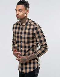 Asos Skinny Shirt In Beige Buffalo Check Camel
