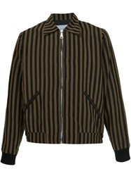 Second Layer Striped Bomber Jacket Black