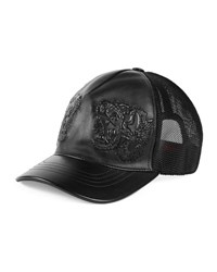 Gucci Tiger Embossed Leather Baseball Hat Black