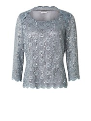 Jacques Vert Stretch Lace Scoop Neck Top Grey