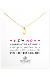 Women's Dogeared 'New Mom' Safety Pin Pendant Necklace