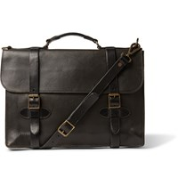 Rrl Corbin Distressed Leather Briefcase Black