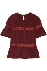 W118 By Walter Baker Gwen Lace Paneled Crepe De Chine Top Burgundy