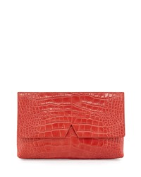 Signature V Crocodile Embossed Clutch Bag Sienna Women's Vince