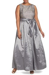 Eliza J Plus Size Women's Satin And Lace Gown Steel