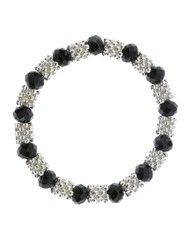 Indulgence Black Crystal And Silver Stretch Bracelet