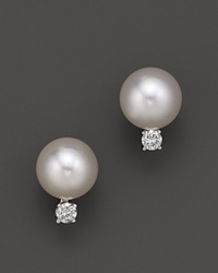 Tara Pearls Akoya Cultured Pearl Stud Earrings With Diamonds White