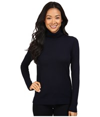 Pendleton Petite Timeless Turtleneck Midnight Navy Women's Long Sleeve Pullover Blue