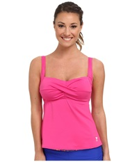 Tyr Solid Twisted Bra Tankini Pink Women's Swimwear