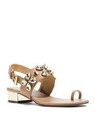 Michael Michael Kors Dory Leather Toe Ring Sandals Beige