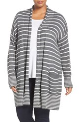 Caslonr Plus Size Women's Caslon Stripe Open Front Long Cardigan